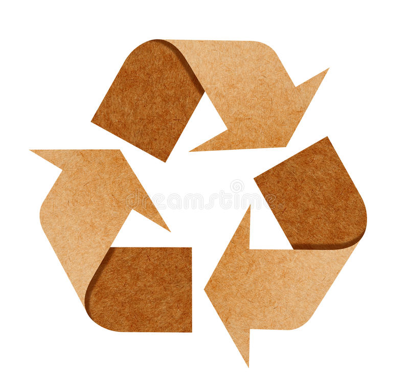 Recycle Logo From Recycle Paper on white stock illustration