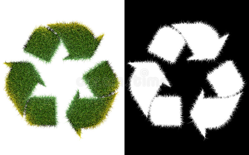 Recycle logo symbol from the green grass, isolated on white with vector illustration