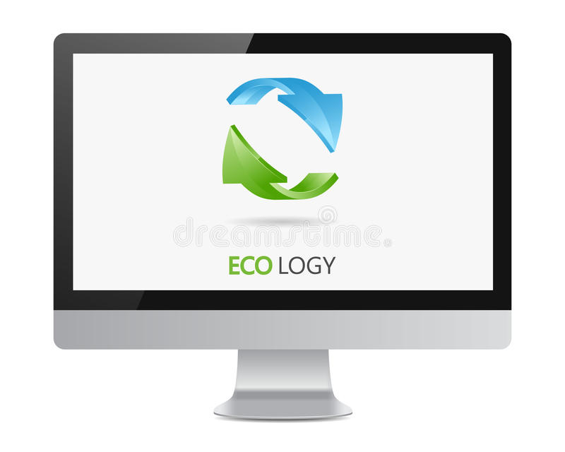 Recycle logo with two arrows on on the computer monitior screen. Vector icon royalty free illustration
