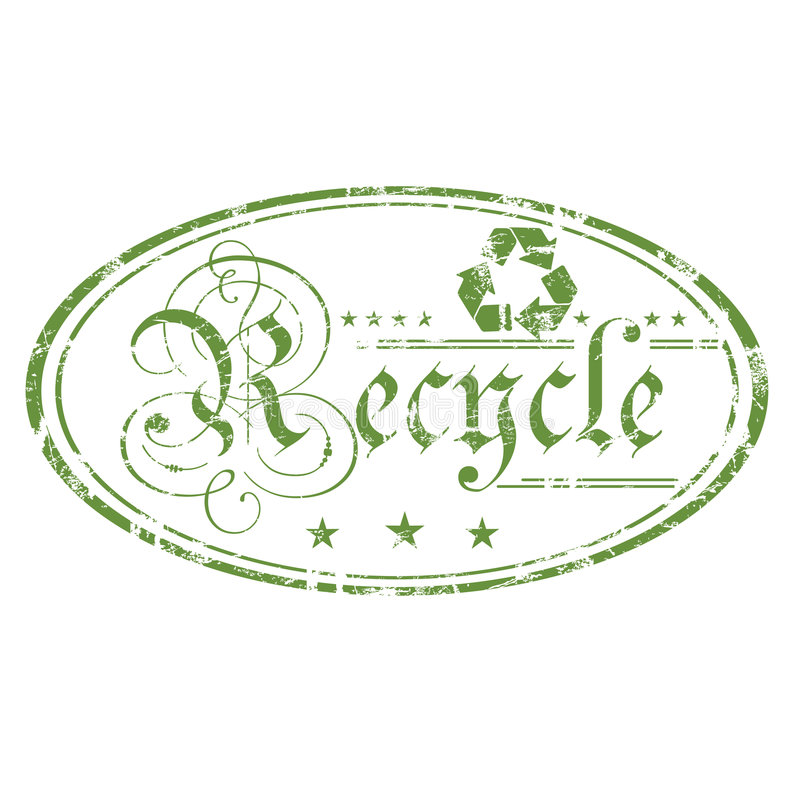 Recycle oval stamp. Abstract green grunge rubber office stamp with recycling symbol, small stars and the word recycle written with ancient letters in the middle royalty free illustration