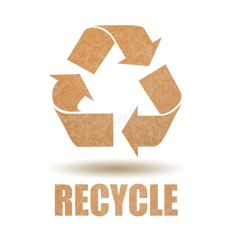 Recycle paper. Symbol on white background stock illustration