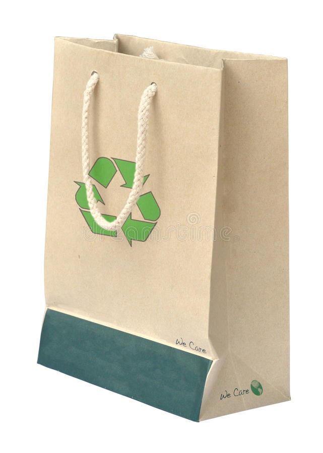 Recycle paper bag with recycle symbol. On white background stock photography