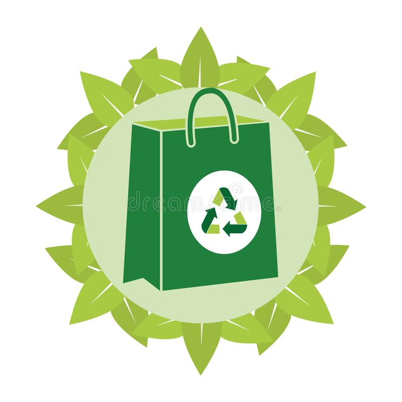 Recycle paper bag. Vector illustration graphic design royalty free illustration