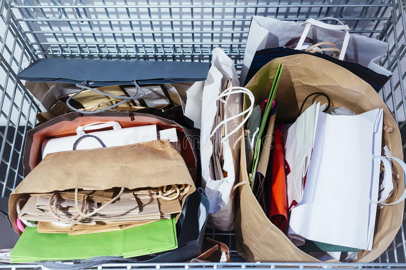 Recycle Paper bags in Rubbish Recycling Ecology lifestyle royalty free stock image