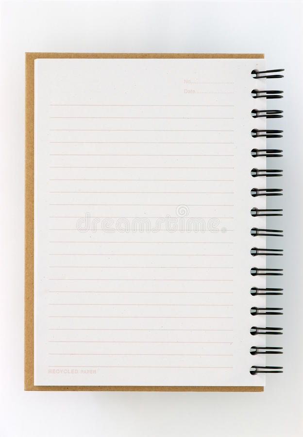Recycle paper notebook left page stock photo