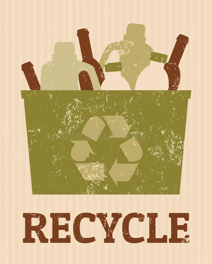 Recycle Poster. Cool recycle poster with a bin full of bottles royalty free illustration