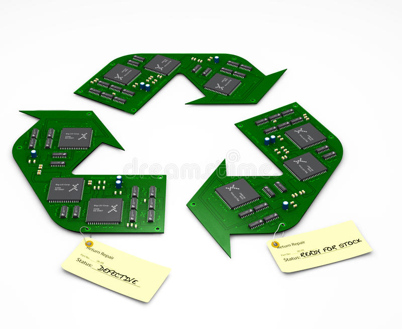 Recycle and Repair electronic circuit boards. 3D ( CGI ) iMAGE OF Electronic printed circuit boards in the shape of the the recycle symbol. Repair and Recycle royalty free stock photo