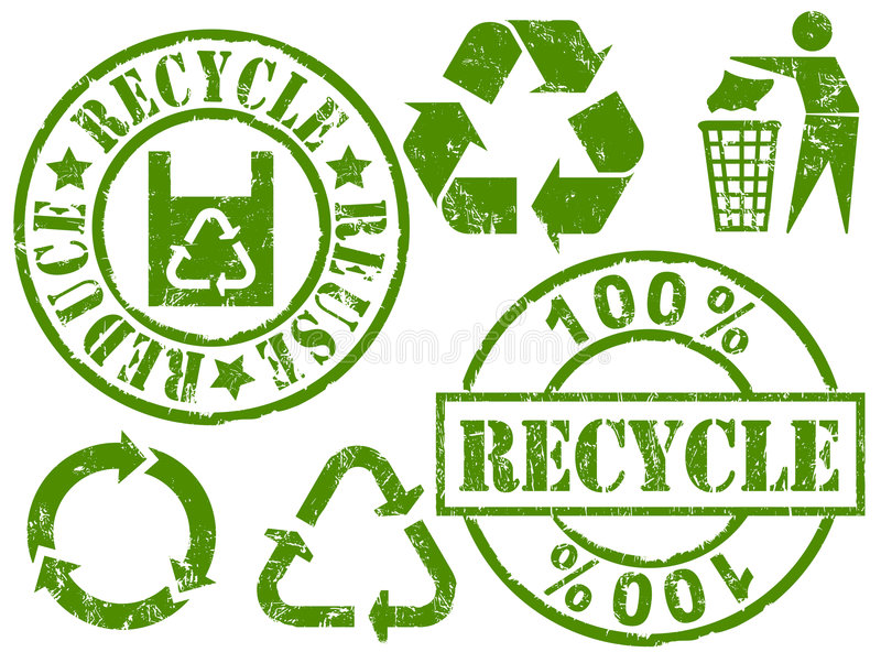 Recycle rubber stamps royalty free illustration