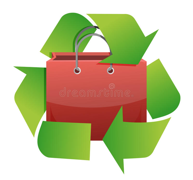 Recycle shopping bag illustration design. Over white background stock illustration