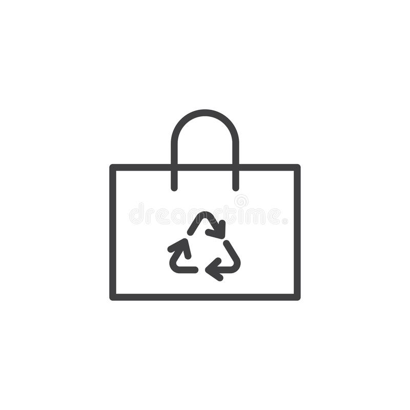 Recycle shopping bag line icon stock illustration