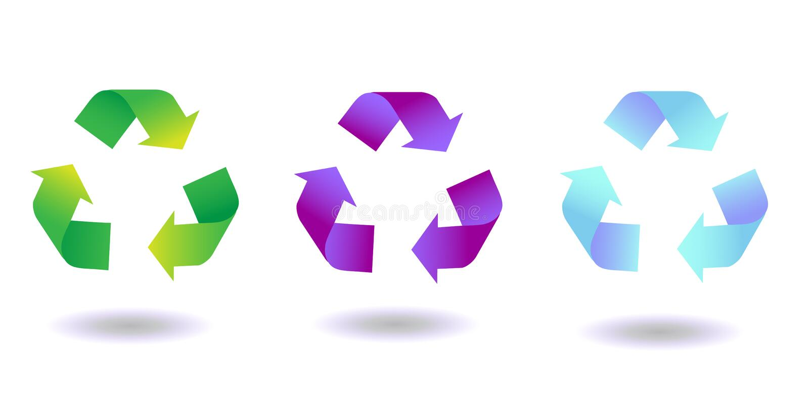 Recycle sign. Gradient Recycled arrows set. Vector clip art royalty free illustration