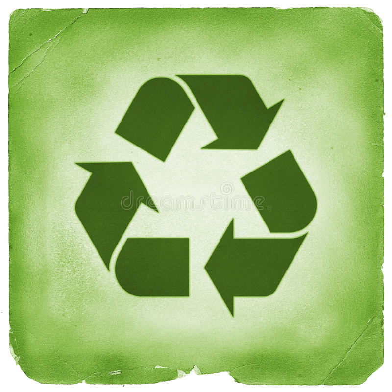 Recycle sign green old retro style. Recyclable symbol with vintage weathered textures. Green recycling sign vector illustration