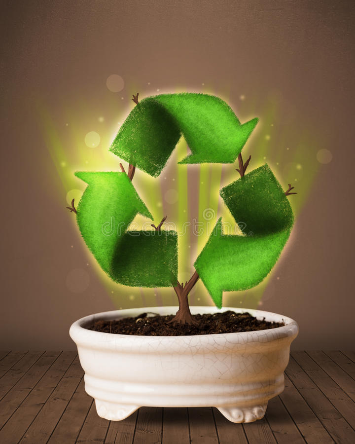 Download Recycle Sign Growing Out Of Flowerpot Stock Illustration - Illustration of clean, concept: 41048735