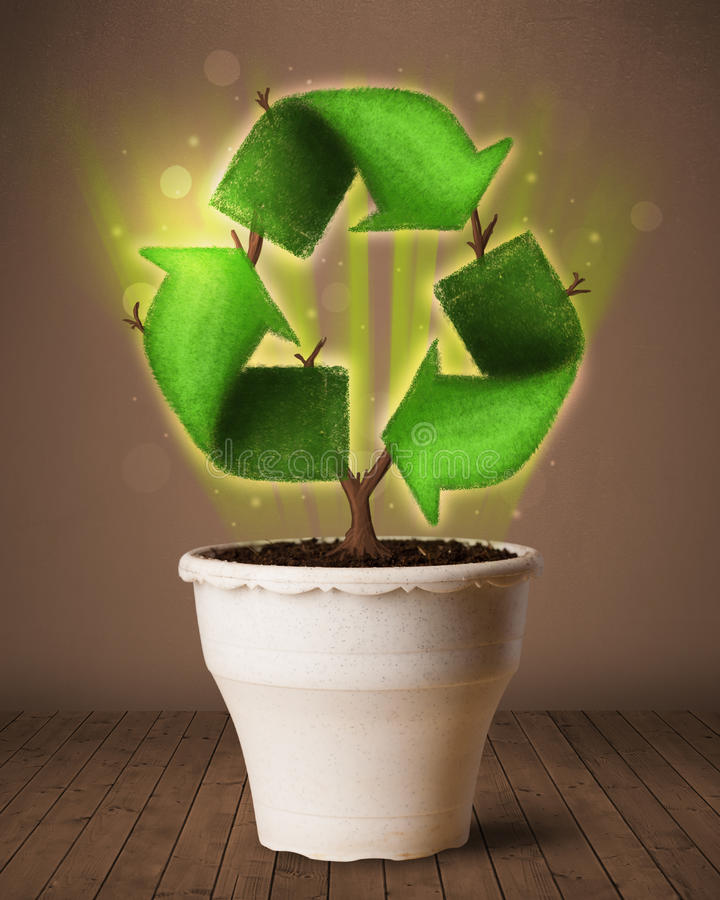 Download Recycle Sign Growing Out Of Flowerpot Stock Image - Image: 42771341