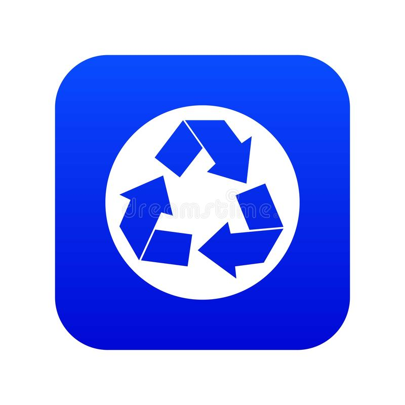 Recycle sign icon digital blue vector illustration