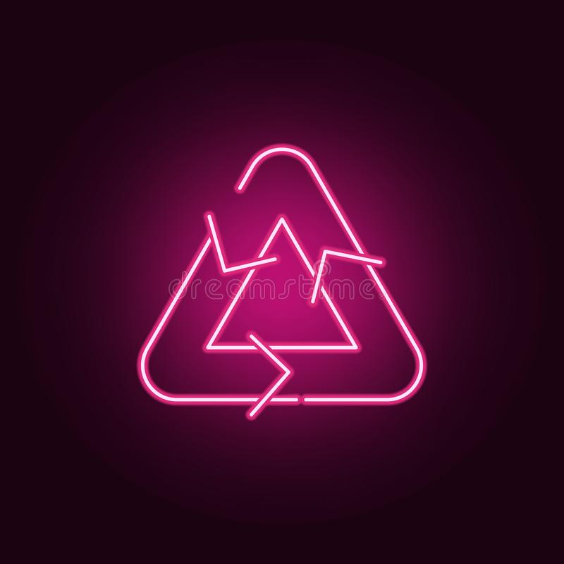 Recycle sign neon icon. Elements of ecology set. Simple icon for websites, web design, mobile app, info graphics stock illustration
