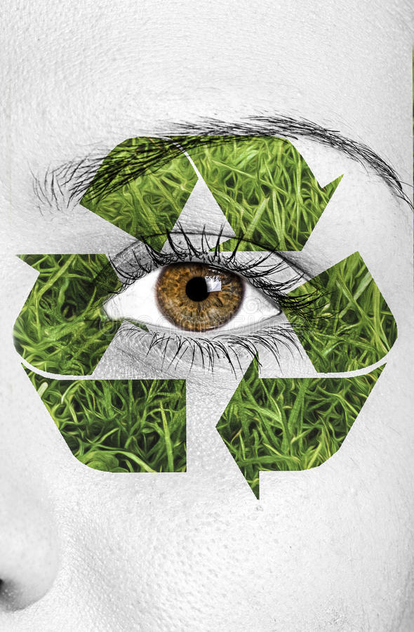 Recycle sign painted on face, eco concept vector illustration