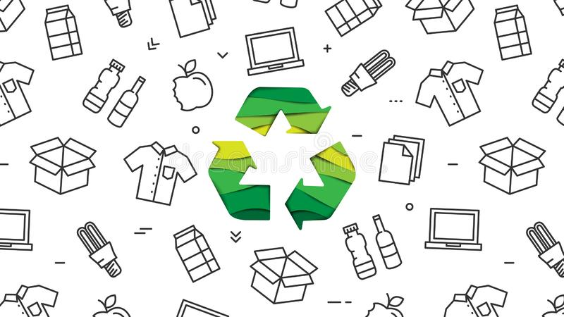 Recycle sign paper cut style with recyclable products vector illustration royalty free illustration