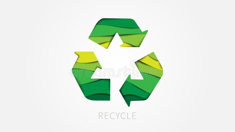 Recycle sign paper cut style vector illustration royalty free illustration