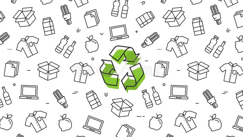 Recycle sign with recyclable products vector illustration royalty free illustration