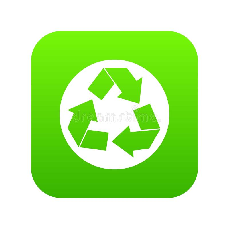 Recycle sign icon digital green vector illustration