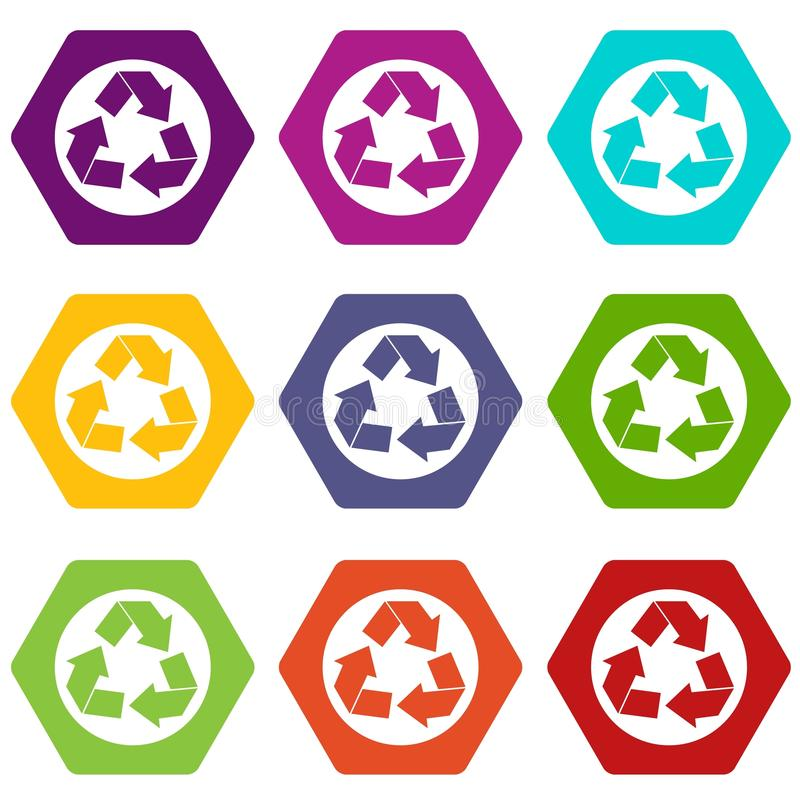 Recycle sign icon set color hexahedron royalty free illustration