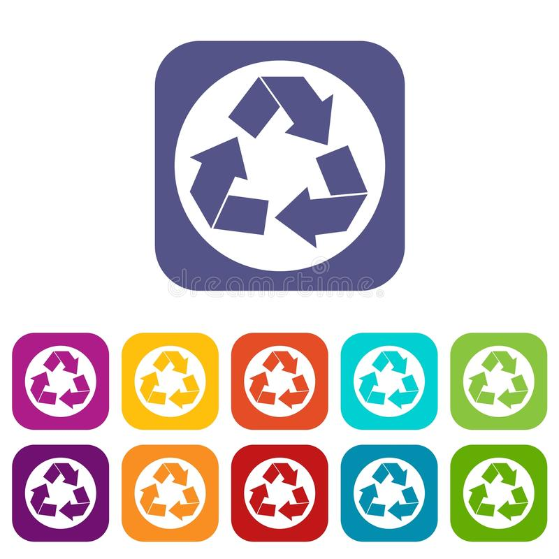 Recycle sign icons set stock illustration