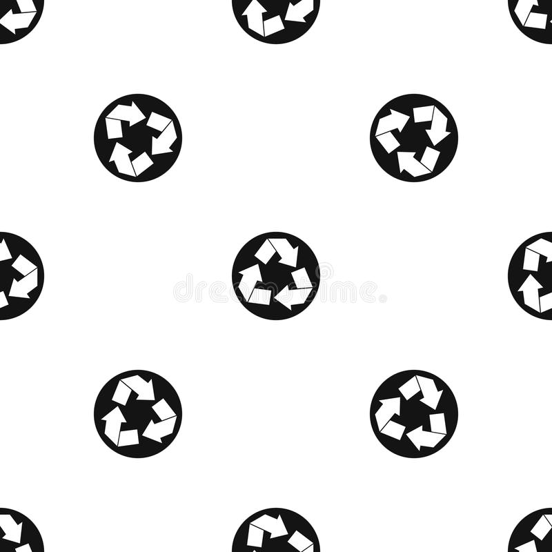 Recycle sign pattern seamless black royalty free illustration