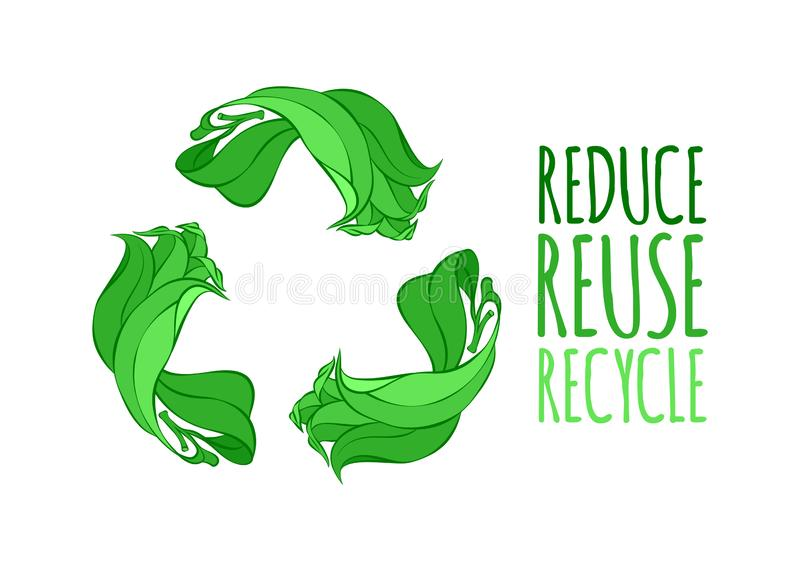 Recycle sign vector illustration. Ecology reduce reuse recycle vector illustration royalty free illustration
