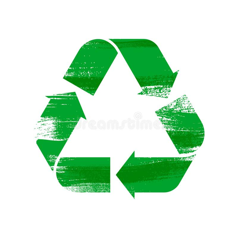 Recycle sign vector illustration. Ecology reuse vector icon - paint brush style royalty free illustration