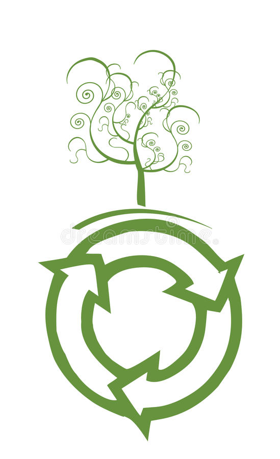 Recycle sings. Green Ecology symbol with white background stock illustration