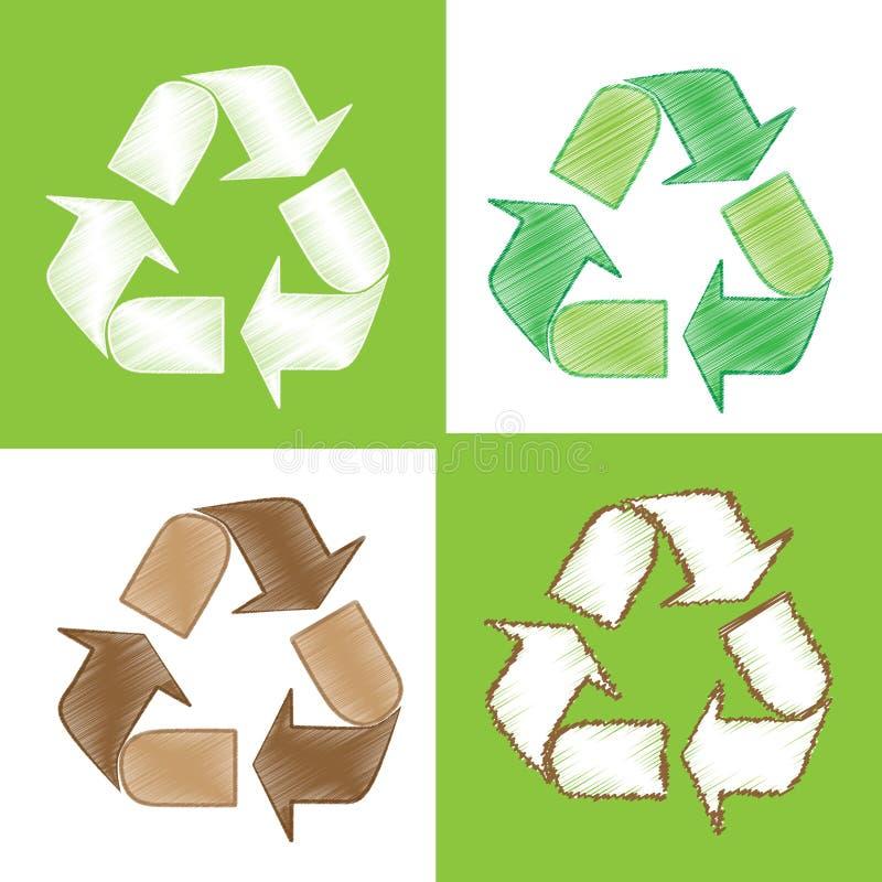 Recycle skissar som klotter vektor illustrationer