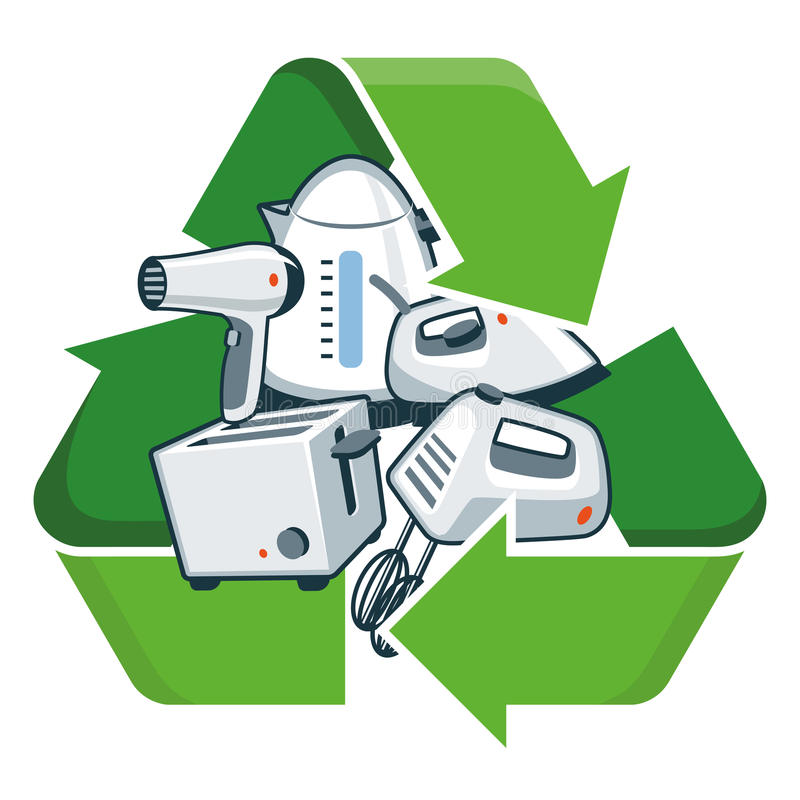 Recycle small electronic appliances. Small electronic home appliances with recycling symbol. Isolated vector illustration. Waste Electrical and Electronic vector illustration