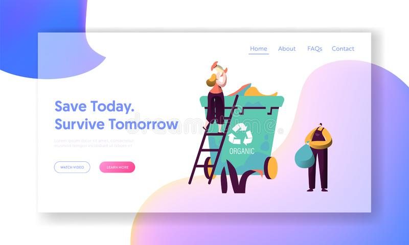 Recycle Sort Organic Garbage Landing Page. Woman Throw Away Food to Dustbin for Separation Reduce Environment Pollution stock illustration