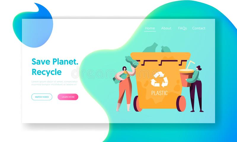 Recycle Sort Plastic Rubbish Landing Page. Woman Throw Away Cup to Trash Bin Separation to Reduce Environment Pollution stock illustration