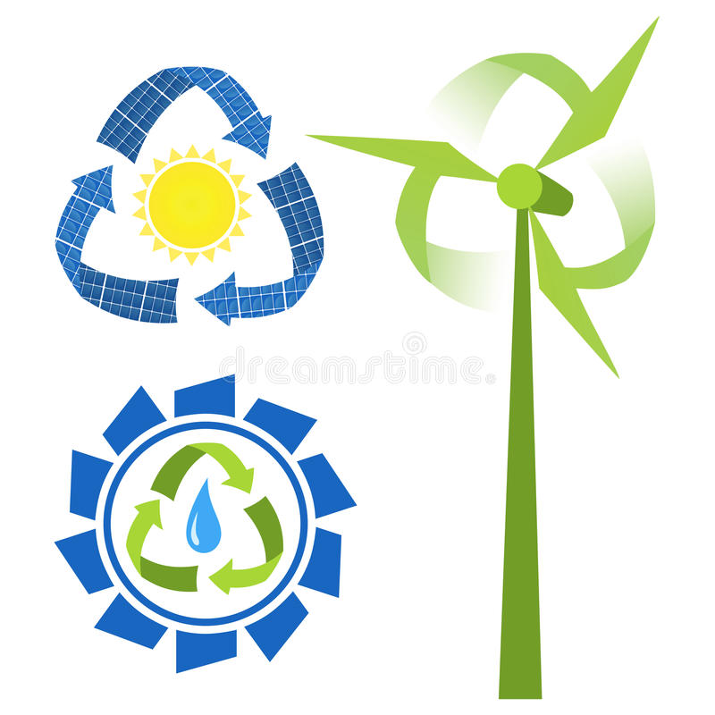 Recycle sources of energy stock illustration