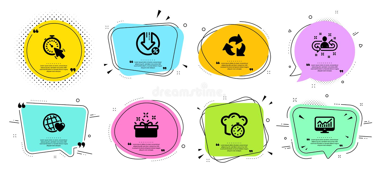 Recycle, Statistics and Recruitment icons set. Present box, Cooking timer and Friends world signs. Vector vector illustration