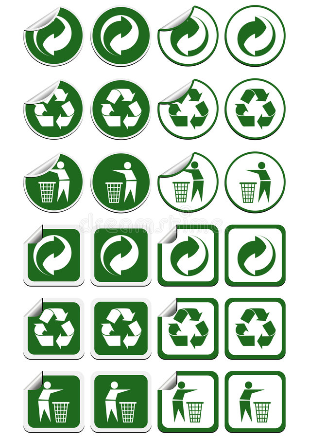 Recycle stickers vector illustration