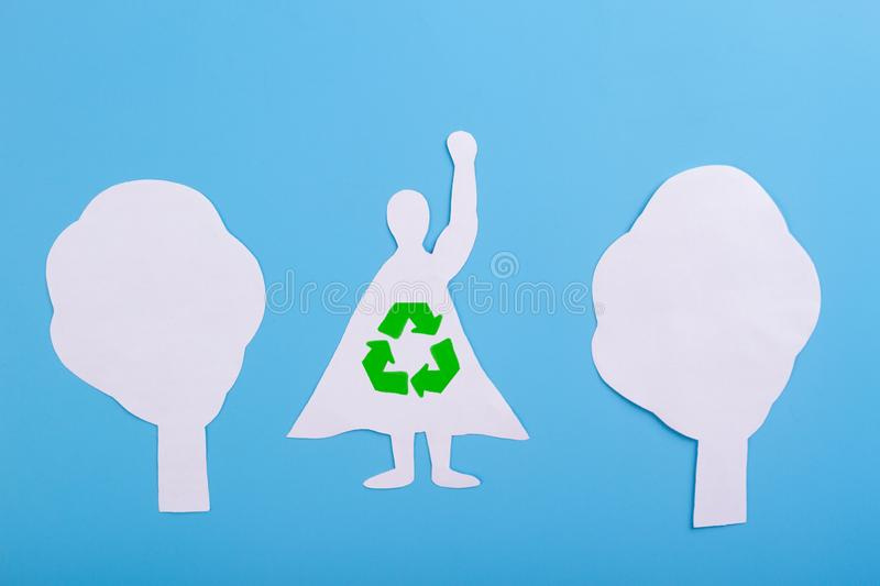 Recycle superhero concept. Illustration. Made of paper royalty free stock photo