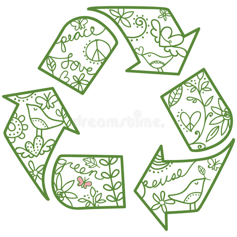 Recycle Symbol. Whimsical recycle symbol. Easy to change colors