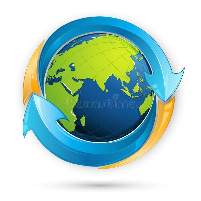 Recycle Symbol Around Earth stock illustration