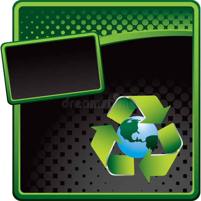 Recycle symbol around earth on halftone ad