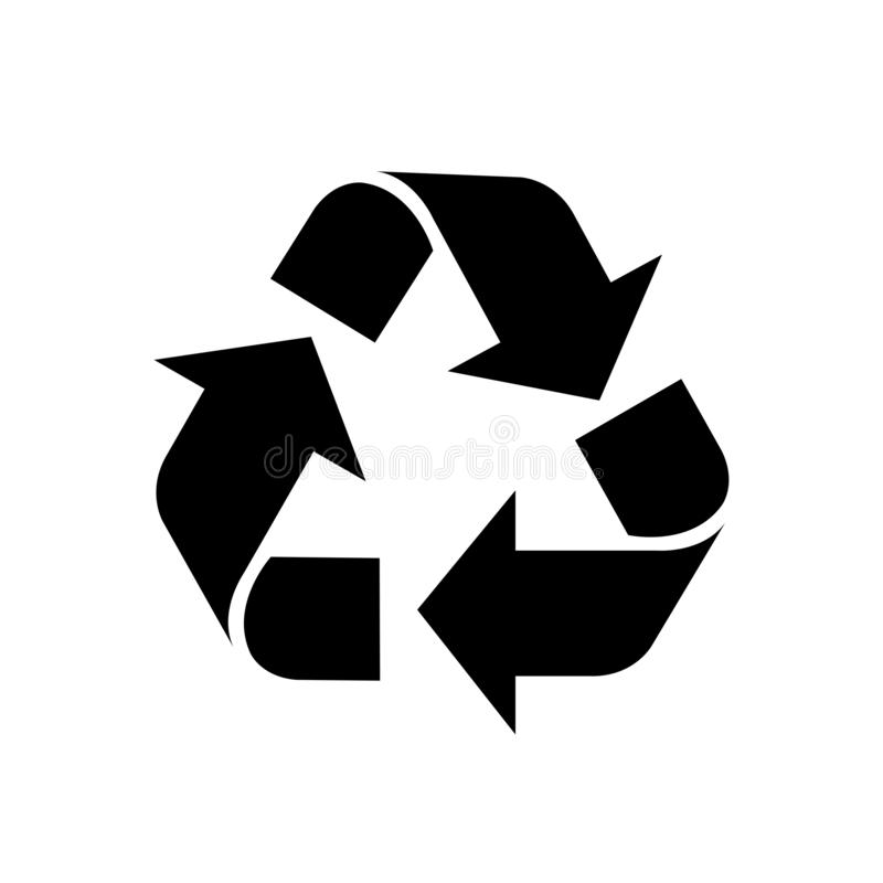 Recycle symbol black isolated on white background, black ecology icon sign, black arrow shape for recycle icon garbage waste, stock illustration