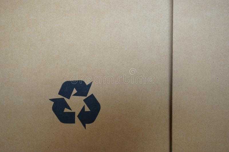 Recycle symbol on carton box royalty free stock images