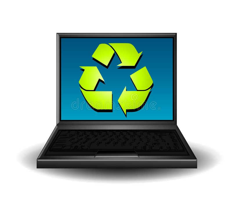 Recycle Symbol on Computer. An illustration featuring a recycling symbol on a laptop computer screen royalty free illustration