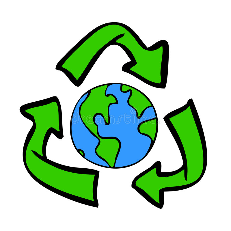 Recycle Symbol with Earth. Hand-drawn recycle symbol with blue and green earth inside vector illustration