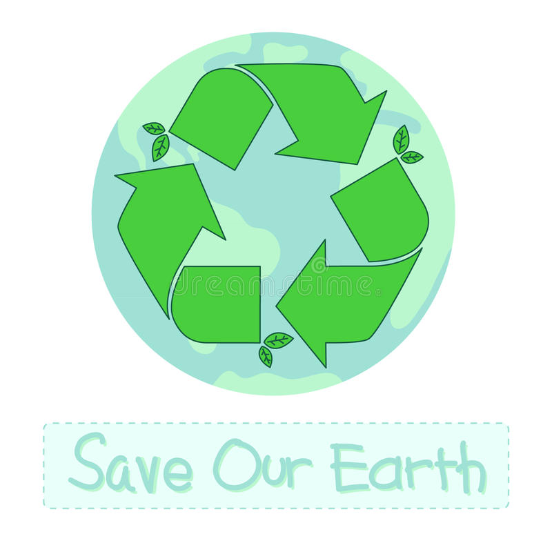 Recycle Symbol With Earth Stock Vector Illustration Of Symbol