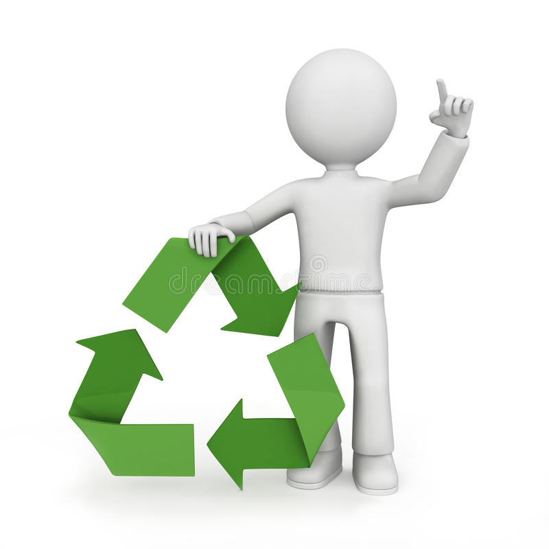 Recycle symbol with figure. 3D illustration of an anonymous male figure with his finger pointed in the air, leaning on a green recycle symbol with his other hand royalty free illustration