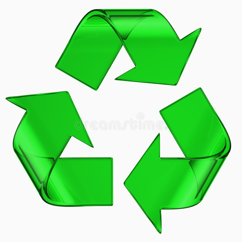 Recycle symbol in green glass stock illustration