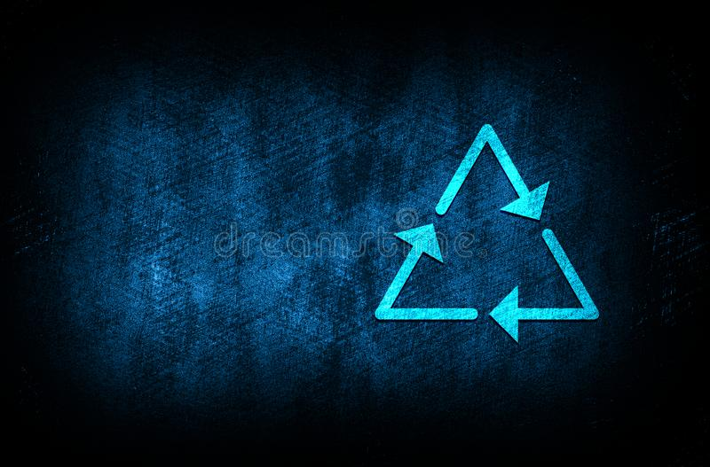 Recycle symbol icon abstract blue background illustration digital texture design concept. Recycle symbol icon abstract blue background illustration dark blue stock illustration